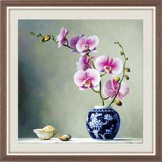 Алмазная мозаика Орхидея в китайской вазе 35 х 35см