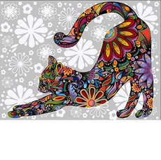 Цветочный кот (потягивающийся) VK170