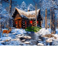 VP1269 Картина по номерам Домик в лесу