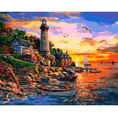 VP1278 Картина по номерам Маяк на закате. Доминик Дэвисон Babylon