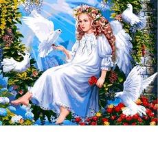 VP1291 Раскраска по номерам Ангел и голуби Babylon