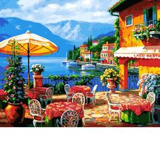 VP1295 Раскраски по номерам Кафе на озере Babylon