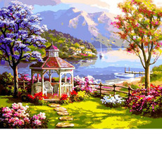 VP1302 Картина по номерам Беседка у озера Babylon