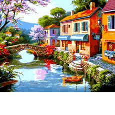 VP1305 Картина по номерам Дома вдоль реки Babylon