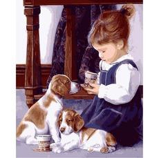 VP1326 Раскраска по номерам Девочка с щенятами Babylon