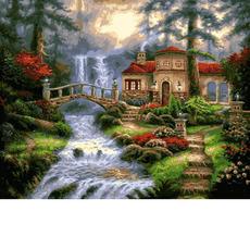VP1354 Картины по номерам Мост у водопада Babylon