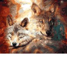 VP1362 Картина по номерам Волк с волчицей Babylon