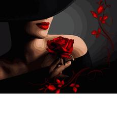 VP1368 Раскраска по номерам Красотка с розой Babylon