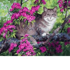Кот и цветущее дерево VP883