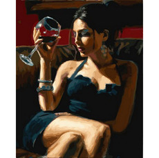 Картина по номерам Babylon Девушка с бокалом Мерло VP892 40 х 50см