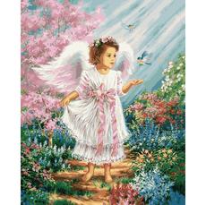 Картина по номерам Babylon Ангелочек в цветущем саду VP901 40 х 50см
