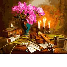 Натюрморт со скрипкой и пионами VP942