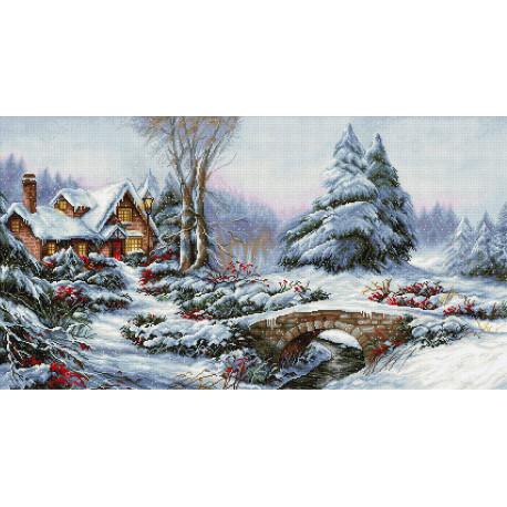 Зимний пейзаж Luca-S набор для вышивания крестом BU5002